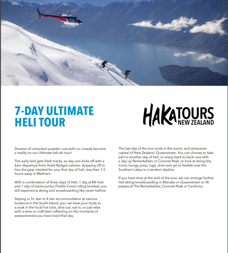 NZ heli-ski guided tour itinerary